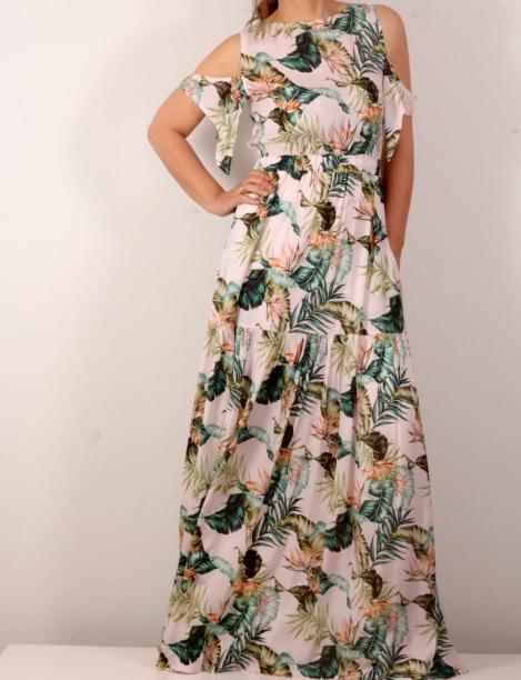 182686796c8 Дълга рокля с тропически принт и голи рамена – Ateliani